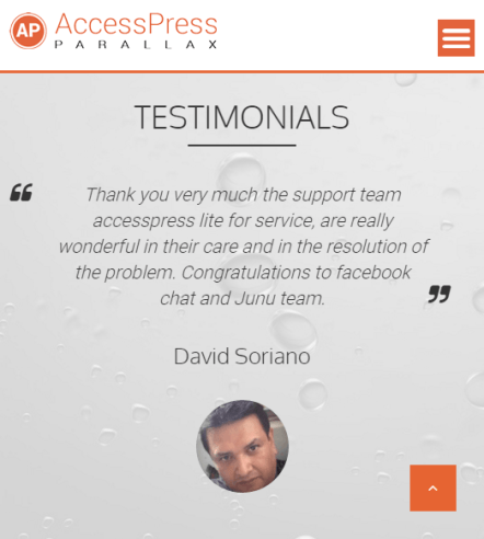 AccessPress Parallax - Mobile Landscape version showing Testimonials section