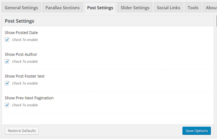 AccessPress Parallax - Theme Options - Post Settings