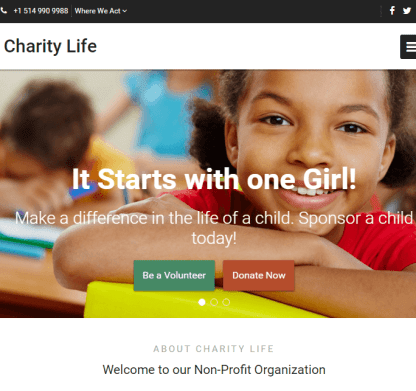 Charity Life - WP Theme for Non Profit Organizations.