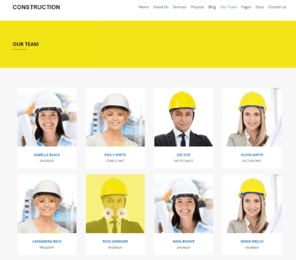 Construction - our team page