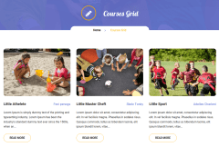 Courses Page of Kidzone