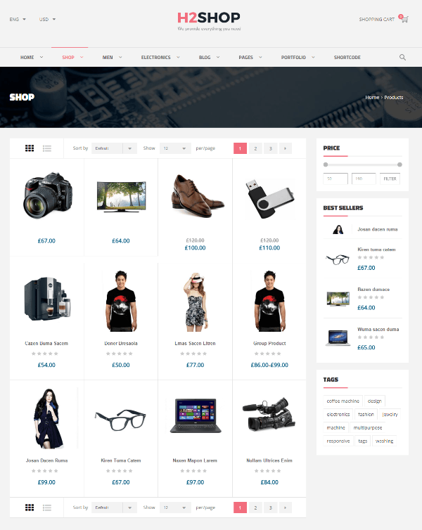 H2shop - Shop page layout ( 4-column grid )