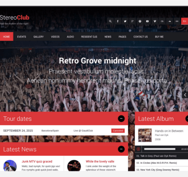 Stereoclub – WP  theme for Musics and Bands.