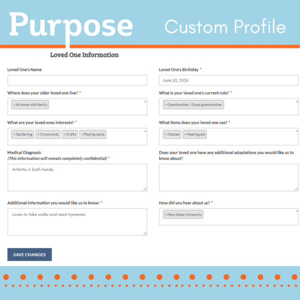 Purpose Checkout Customer Profile