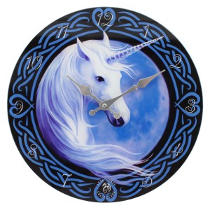 Celtic Unicorn Glass Wall Clock by Anne Stokes