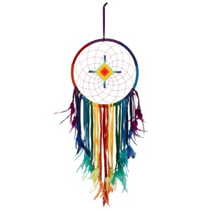 Chakra Multicoloured Dreamcatcher with Diamond Centre