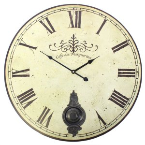 Large Vintage Style Cafe des Marguerites Wall Clock with Pendulum