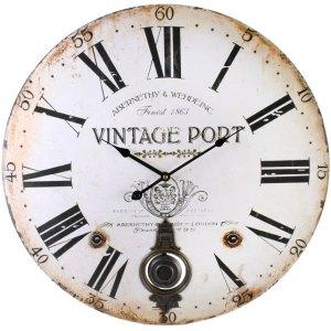 Large Vintage Port Wall Clock with Pendulum