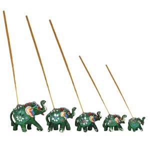 Set of 5 Green Elephant Incense Burners