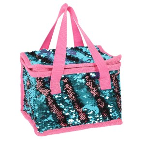 Blue and Pink Reversible Sequin Lunch Bag