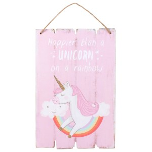 Happier Than a Unicorn Hanging Sign