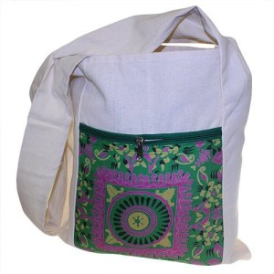 Sling Bag - Green Alpana Silk - Asst