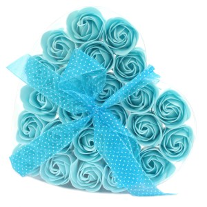 Set of 24 Soap Flower Heart Box - Blue Roses