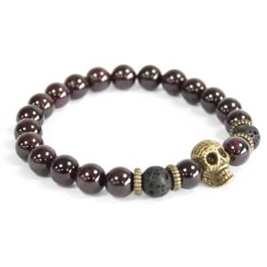 Bronze Skull / Blood Stone - Gemstone Bracelet