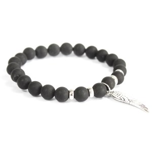 Angel Wing / Black Agate - Gemstone Bracelet