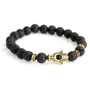 Gold Hamsa / Lava Stone - Gemstone Bracelet