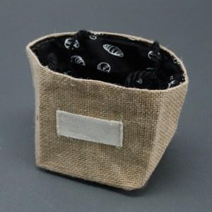 Natural Jute Cotton Gift Bag - Black Lining - Medium