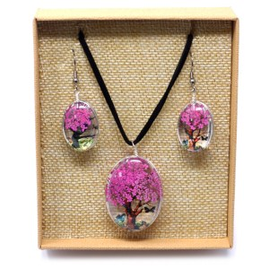 Pressed Flowers - Tree of Life set - Bright Pink