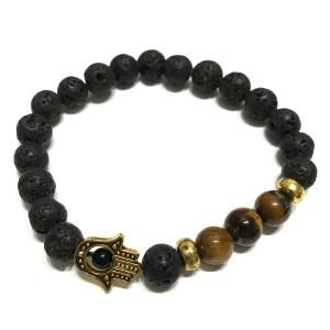 Lava Stone Bracelet - Hamsa Tiger-eye