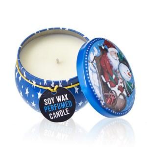 Art Tin Candle - Assorted Design - Vintage Christmas - Spiced Orange