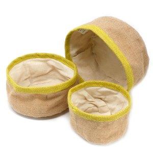Set of 3 Natural Jute Baskets - Olive
