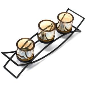 Centrepiece Iron Votive Candle Holder - 3 Cup Silluethe