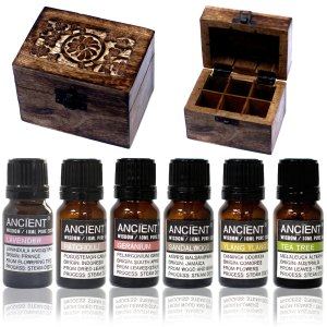 Aromatherapy Set - 6 Essential Oils and Carved Box