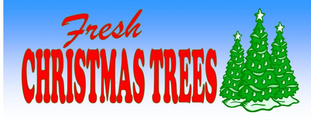 Banner 3'x8' Fresh Christmas Trees Full Color Vinyl €� Pursell