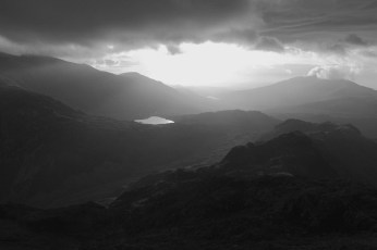 The Sun battling the grey clouds! View on route to Crib Goch