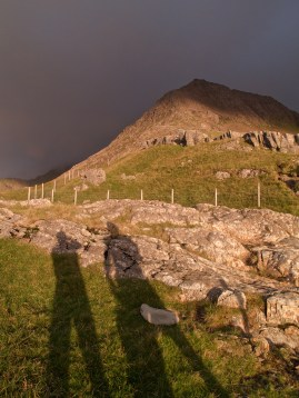 Our shadows as we look up at Crib Goch's Summit