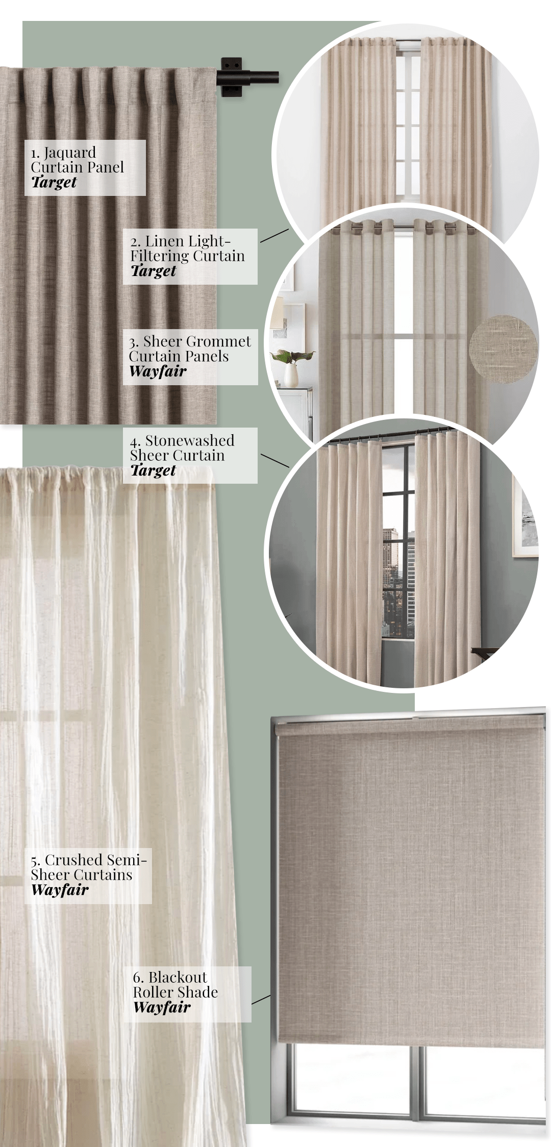 color curtains go with sage green walls