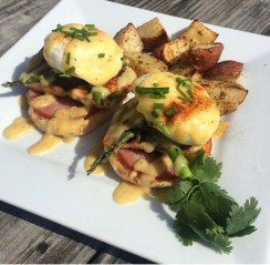 Cajun Salmon & Asparagus Eggs Benedict with Roasted Potatoes