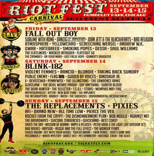Riot Fest '13 Schedule