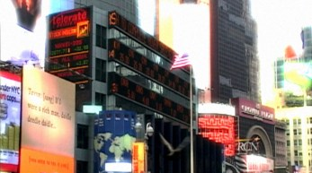 Y Yoga Movie frame Time Square US Flag