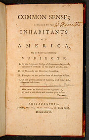 "Suggested reading ""Common Sense"" by Thomas Paine"