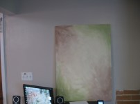 Here's the preliminary background for the canvas and newly painted wall