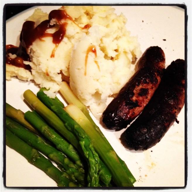 Turkey sausage and mash