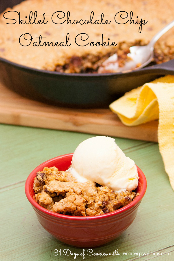 skillet chocolate chip oatmeal cookie