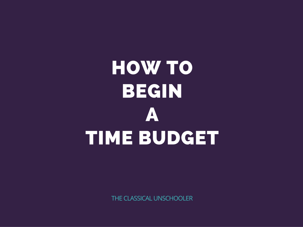 Stepping Back: Or How to Begin a Time Budget