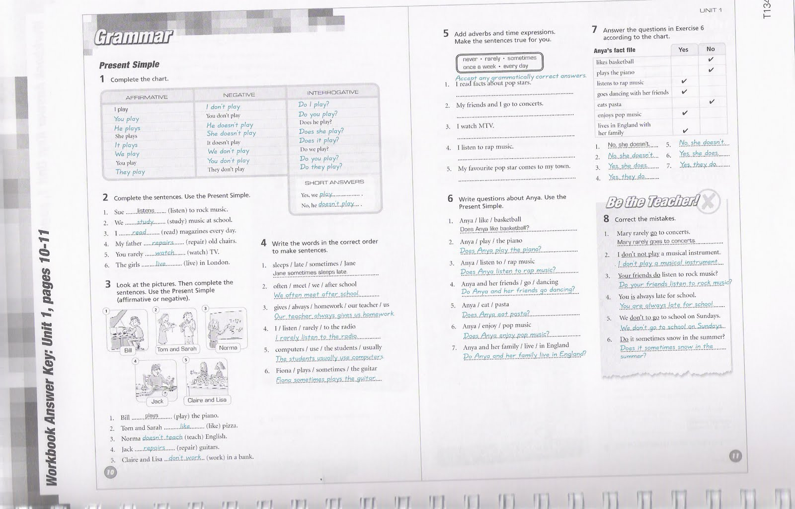 3rd Eso Answers Workbook Pages 10 And 11 Pushingenglish Blog