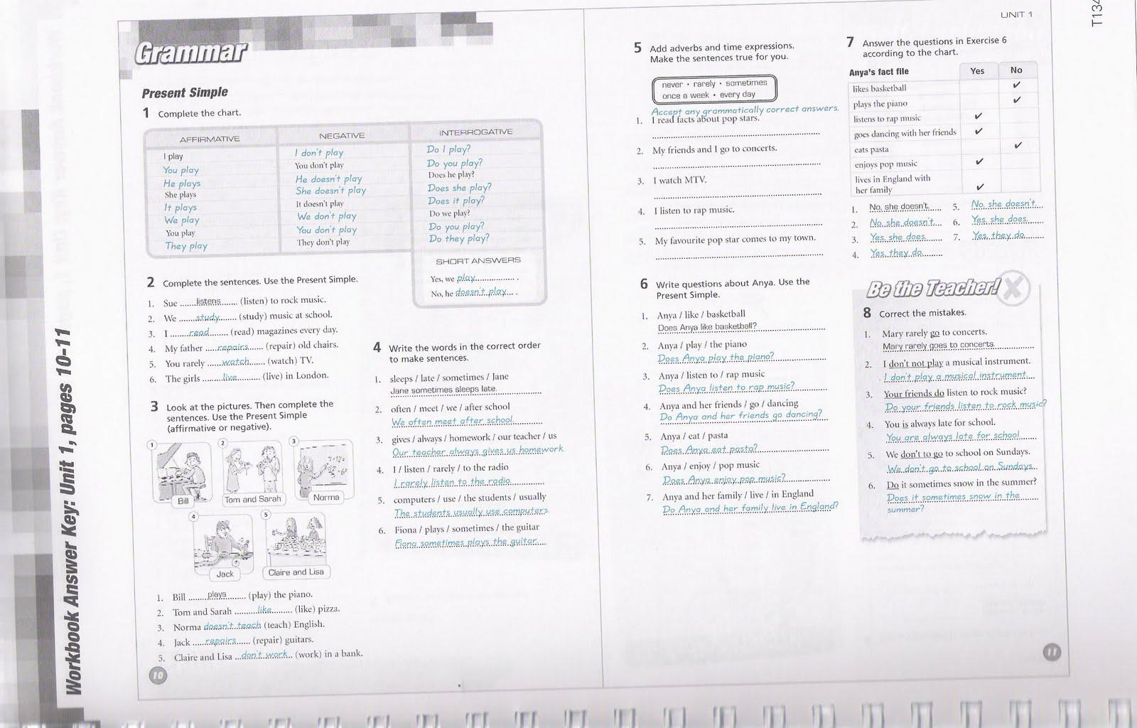Workbooks realidades 2 workbook answer key : 3rd ESO ANSWERS workbook pages 10 and 11 Â« Pushingenglish Blog