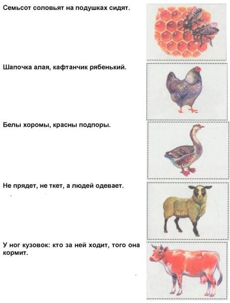 Эти загадки предлагает вам пёс Рыжик, у которого среди домашних животных много друзей. Отгадайте загадки. Рисунки-отгадки вырежьте из Приложения и наклейте в соответствующие рамки.