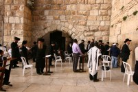 Prayers being offered in Sabbath at The Western Wall