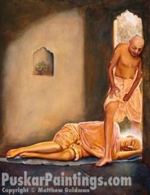 Govinda carefully steps over Lord Chaitanya