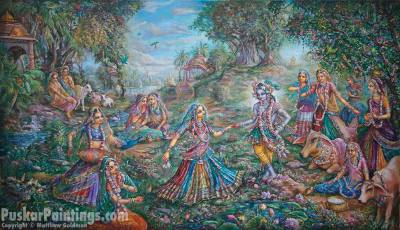 [K56] Krishna and Gopis reconcile after pasttime of growing pearls