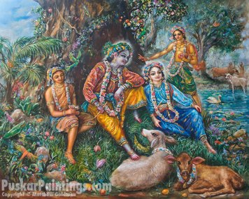 [K59] Krishna and cowherd boys relax under a tree