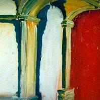 Halle (hall), 1990, oil on nettlecloth, 140 x 180 cm