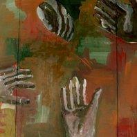 """""""Hände"""" (hands), oil on nettle cloth, ~ 180 x 450 cm, 1992"""