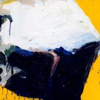 """Imaginäre Landschaft"" (imaginary landscape), oil on nettle cloth, 80 x 90 cm, 1990"
