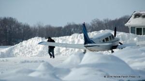 Mr. Shaffer turns plane to avoid snow mountain.